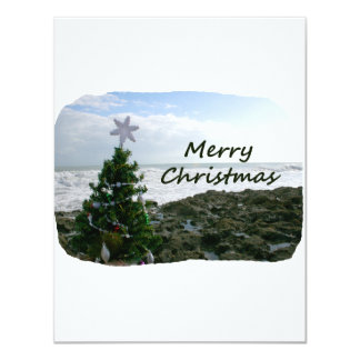 Christmas Tree Against Beach Rocks Merry Christmas 4.25x5.5 Paper Invitation Card