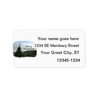 Christmas Tree Against Beach Rocks Merry Christmas Personalized Address Labels