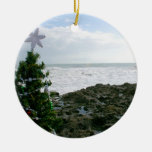 Christmas Tree Against Beach Rocks Double-Sided Ceramic Round Christmas Ornament