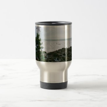 Beach Themed Christmas Tree Against Beach Rocks Travel Mug