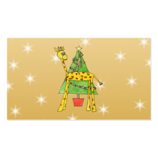 Christmas Tree and Animals. Double-Sided Standard Business Cards (Pack Of 100)
