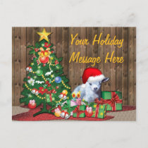 Christmas Tree and Baby Goat Holiday Postcard