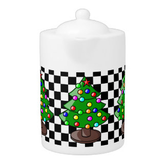 Christmas Tree and Black / White Checkered Teapot
