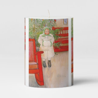 Christmas Tree and Child in Fur Pillar Candle