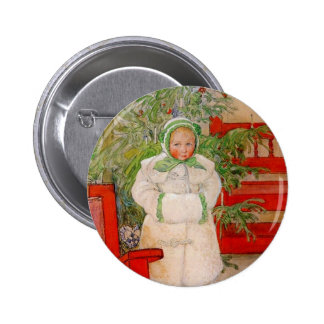 Christmas Tree and Child in Furs Button