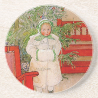 Christmas Tree and Child in Furs Drink Coaster