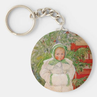 Christmas Tree and Child in Furs Key Chain