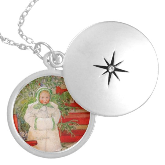 Christmas Tree and Child in Furs Locket Necklace