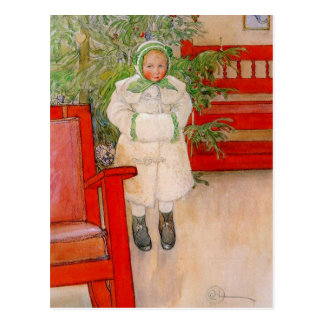 Christmas Tree and Child in Furs Postcard