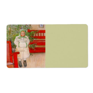 Christmas Tree and Child in Furs Shipping Label