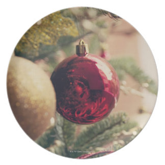 Christmas tree and decoration dinner plate