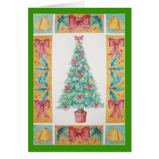 Christmas tree and decorations and red bows card