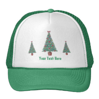 Christmas tree and decorations and red bows mesh hat