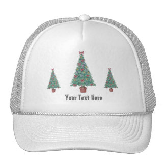 Christmas tree and decorations and red bows trucker hat