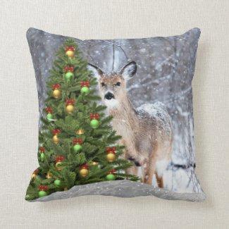 Christmas Tree and Deer Holiday Wildlife Throw Pillow