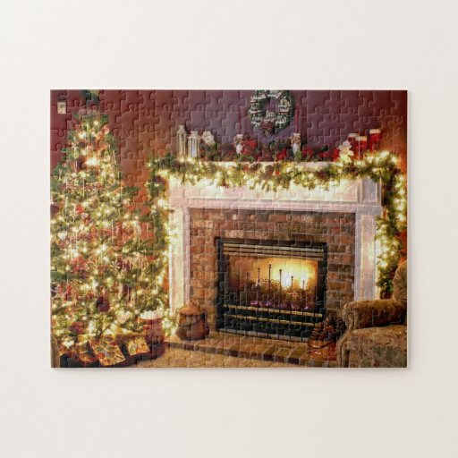 tree and fireplace photo puzzle zazzle