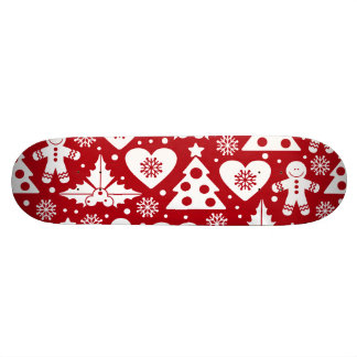 Christmas Tree and Gingerbread Man Pattern on Red Skateboard Deck