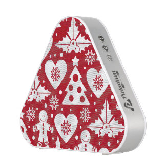 Christmas Tree and Gingerbread Man Pattern on Red Speaker