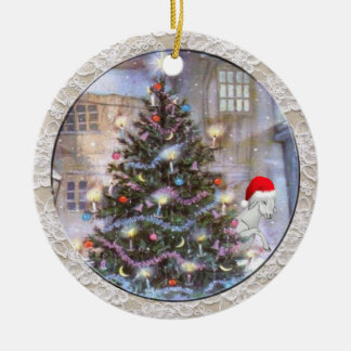 Christmas Tree and Goat in Santa Hat Ceramic Ornament