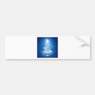 Christmas tree and light over blue background bumper sticker
