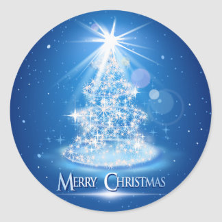 Christmas tree and light over blue background classic round sticker