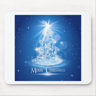 Christmas tree and light over blue background mousepads