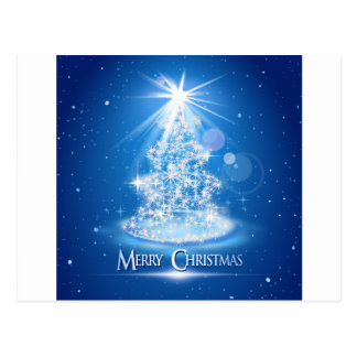 Christmas tree and light over blue background postcard
