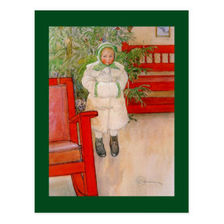 Christmas Tree and Little Snowsuit Girl Postcard