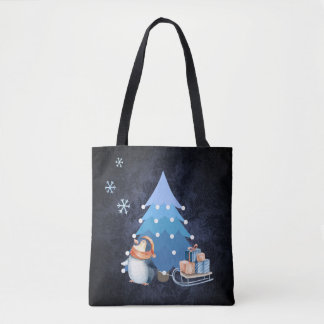Christmas Tree and Penguin Bringing Gifts Tote Bag