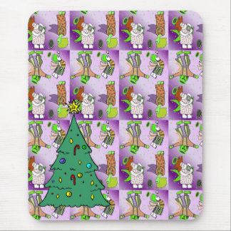 Christmas tree and Pink cute angels Mouse Pad