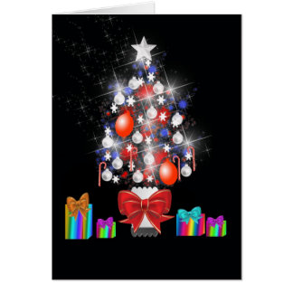 Christmas Tree and Present Greetings Card