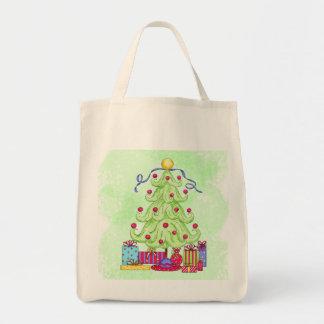 Christmas Tree and Presents Original Art Green Tote Bag