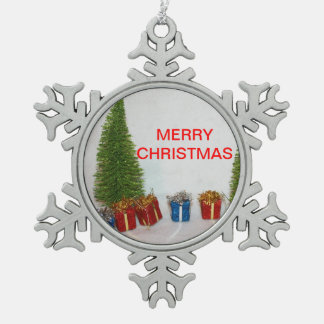 Christmas Tree and Present's Pewter Snow Flake Snowflake Pewter Christmas Ornament