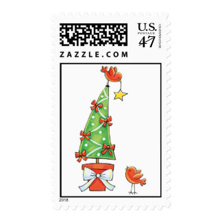 Christmas Tree and Red Birds Postage