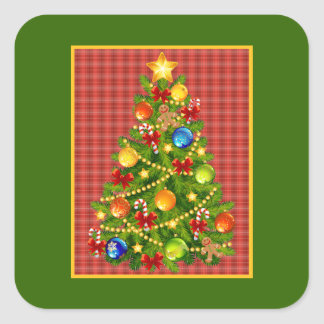 Christmas Tree and Red Plaid Square Sticker