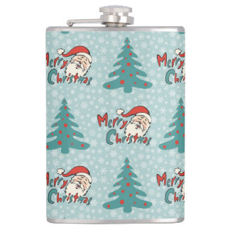 Christmas tree and santa claus flask