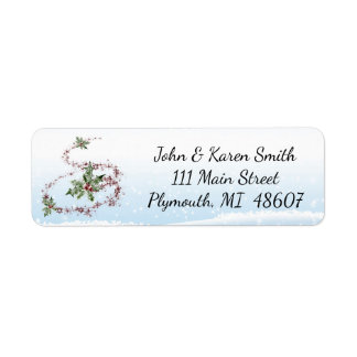 Christmas tree and Snow Mailing Label