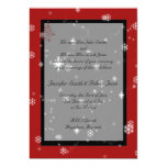 """Christmas Tree and Snowflakes on Red and Black 5"""" X 7"""" Invitation Card"""