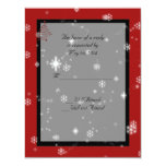 """Christmas Tree and Snowflakes on Red and Black 4.25"""" X 5.5"""" Invitation Card"""
