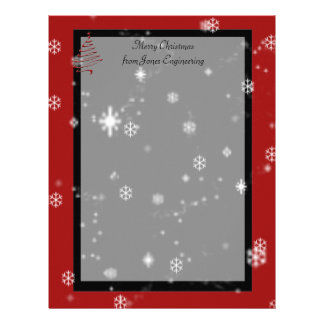 Christmas Tree and Snowflakes on Red and Black Letterhead
