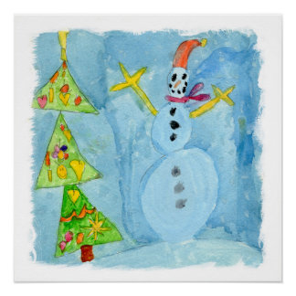 Christmas Tree and Snowman Poster