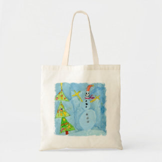 Christmas Tree and Snowman Tote Bag