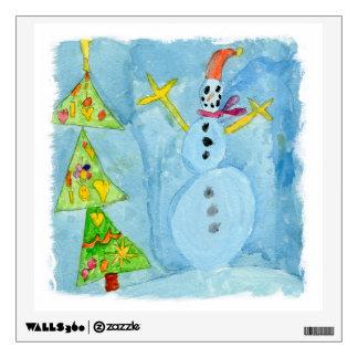 Christmas Tree and Snowman Wall Decal