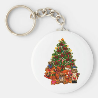 Christmas Tree and Teddy Bears Basic Round Button Keychain