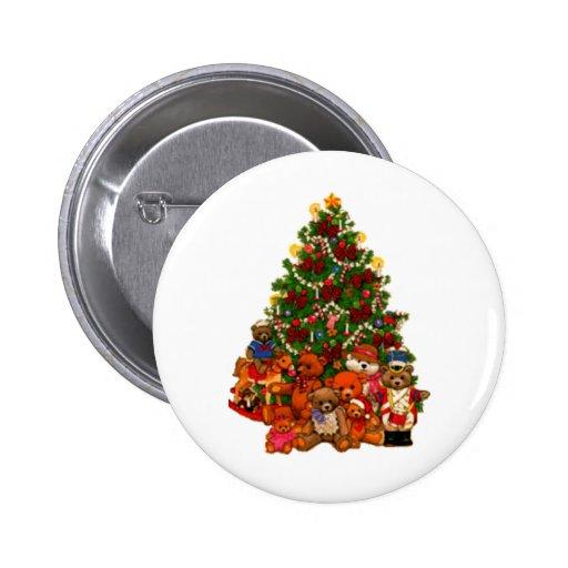 Christmas Tree and Teddy Bears Pinback Buttons