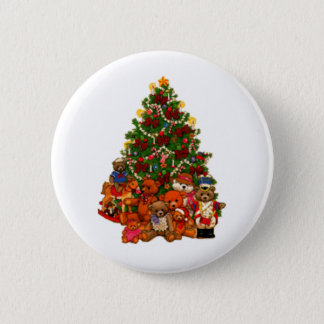 Christmas Tree and Teddy Bears Pinback Button