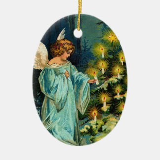 Christmas Tree Angel Double-Sided Oval Ceramic Christmas Ornament
