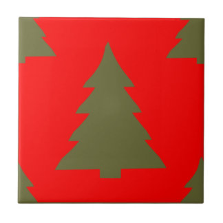 Christmas Tree Any Color Red Ceramic Tile