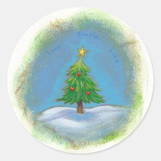 Christmas tree art simple sweet hearts star classic round sticker