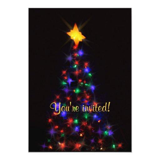 Christmas Tree at night 5x7 Paper Invitation Card